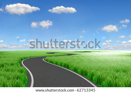 Road and green field. 3d Landscape