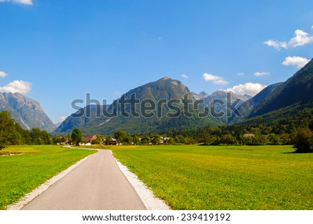Road and mountain at countryside of Europe - stock photo