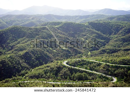 Road and mountain in Northern Cyprus                                - stock photo