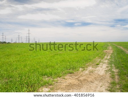 Road and Nobody On a Country Lane  - stock photo