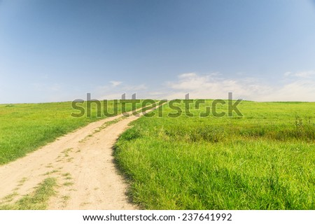 Road and Nobody Through the Green  - stock photo