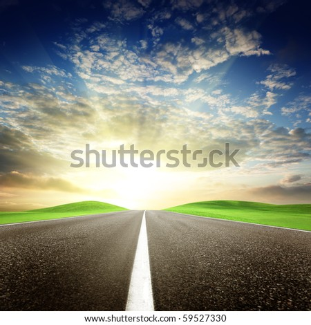 road and perfect sunset sky - stock photo