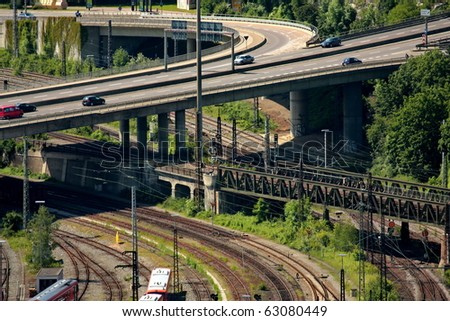 road and rail - stock photo