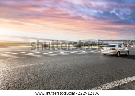 road and sky in airport - stock photo