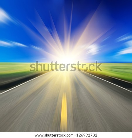 Road and sun - stock photo