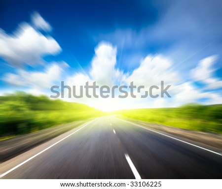 road and sunny day - stock photo