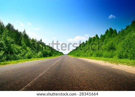 road and sunny summer day