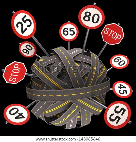 Road asphalt tangled and messy. Concept of speed limit. - stock photo