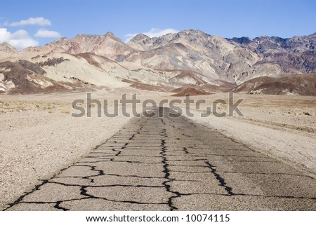 Road at the artist drive, Death Valley, California - stock photo