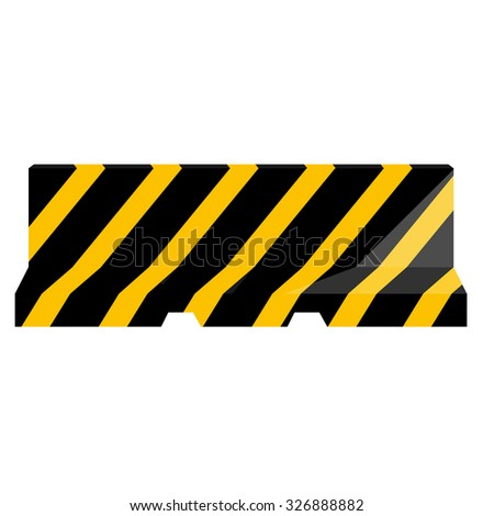 Road barrier striped black and yellow raster illustration. Traffic barrier. Road block. - stock photo