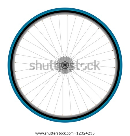 Road bicycle front wheel on white background
