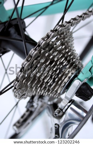 Road bike chain and gears - stock photo