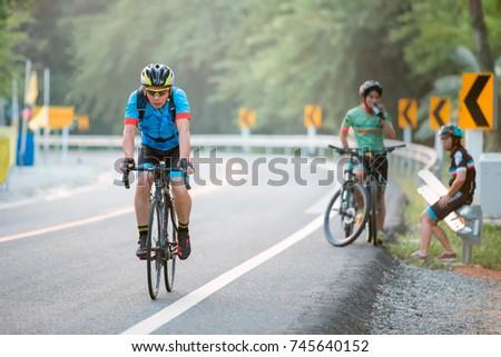 Road Bike Cyclist Man Cycling Biking Stock Photo 698813308