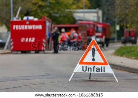 Road Blocked By German Fire Department Stock Photo (Download Now ...