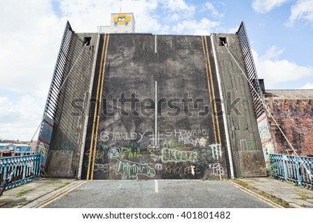 road bridge in open position - stock photo