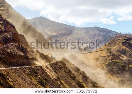 Road Building In Ecuadorian Andes At High Altitude Horizontal - stock photo