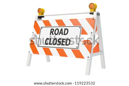 Road Closed Barricade isolated with clipping path - stock photo
