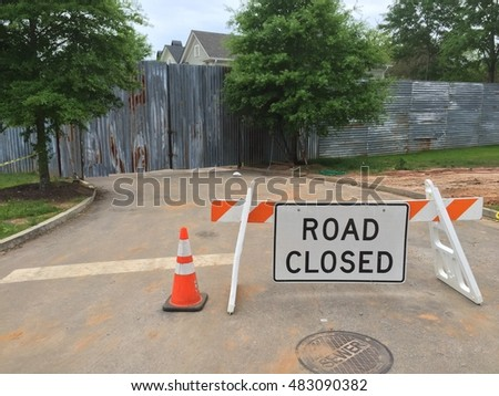 Road Closed in Senoia Georgia in front of Set of the Walking Dead picture taken on May 1st 2015 from public road