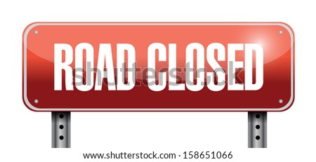 road closed road sign illustrations design over a white background - stock photo