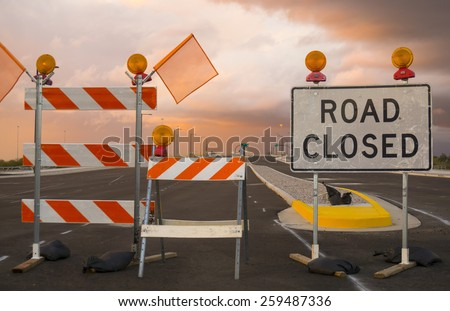 Road closed sign - new highway exit entrance - stock photo