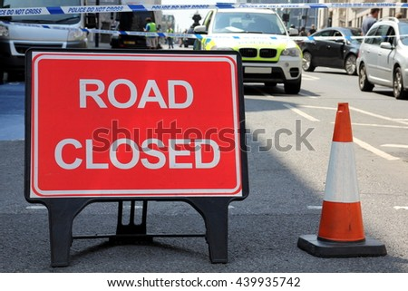 Road Closed sign on a street in London