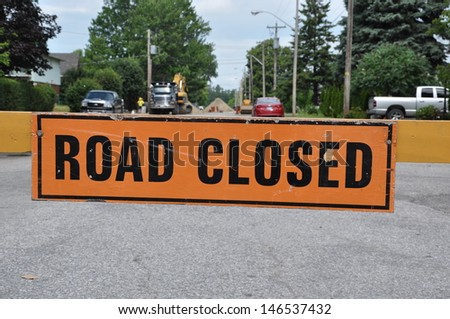Road closed signage - stock photo