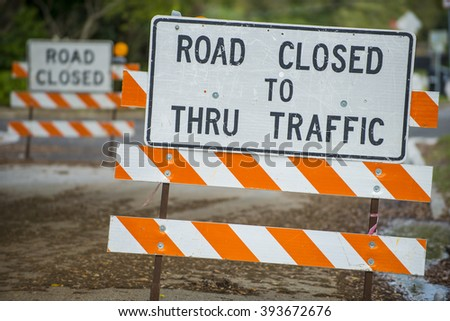 Road closed signs detour traffic temporary - stock photo