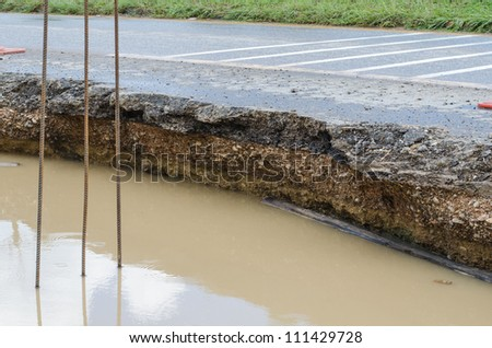 Road collapses from heavy rains