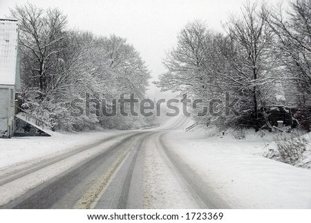 Road conditions during a severe snowstorm. Jutland, Denmark, Scandinavia - stock photo