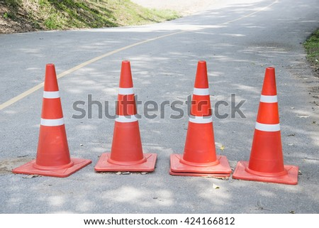 road cone on road - stock photo