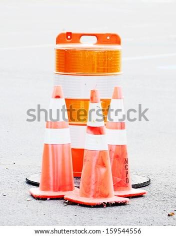 Road Construction Barrel - stock photo