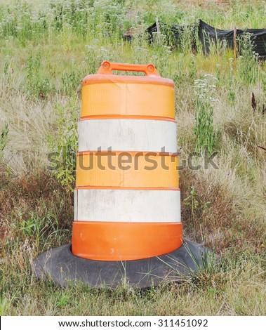 Orange White Construction Barrels Set On Stock Photo ...