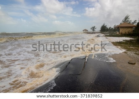 road crash from storm - stock photo
