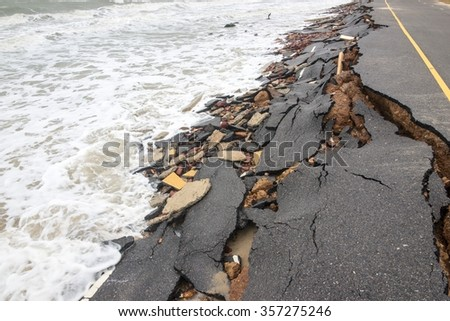Road crash of waves and wind in rainy day - stock photo
