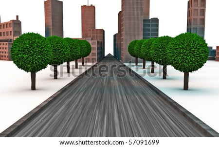Road crossing a city on background with trees around
