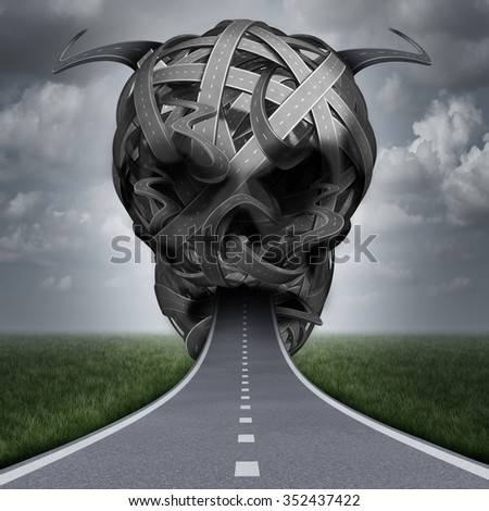 Road danger speeding violation or driving drunk and under the influence of drugs or falling asleep on the highway as a street safety concept with a pathway shaped as a an evil human skull. - stock photo