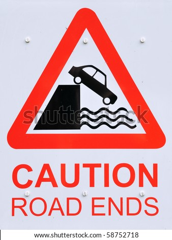 Road Ends Sign - stock photo