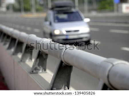 Road fence - stock photo