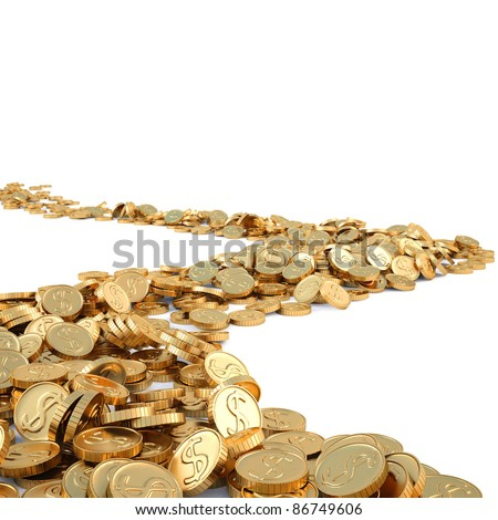 road from gold coins. isolated on white. - stock photo