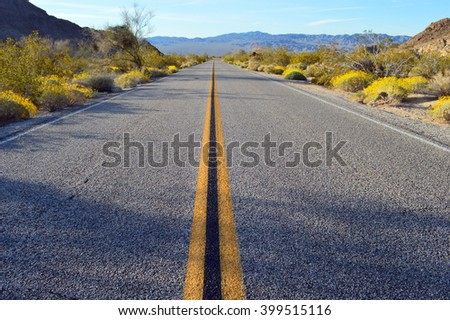 Road going through Joshua Tree National Park in California. - stock photo