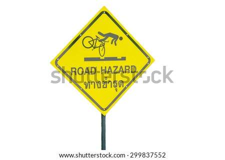 Road Hazard Warning Sign isolated with clipping path - stock photo