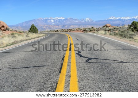 Road in Arches National park , Utah