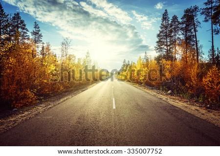 road in autumn  mountains - stock photo