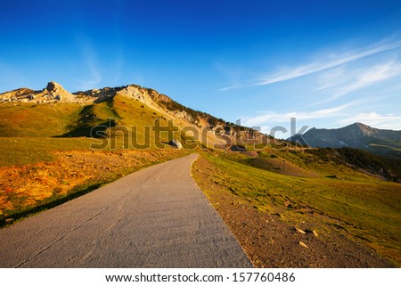 Road in Chia mountain pass. Pyrenees, Aragon