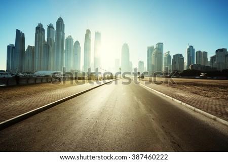 road in Dubai, United Arab Emirates - stock photo