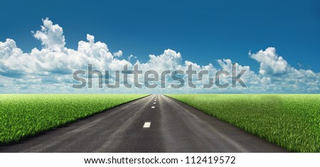 road in fields. illustrated concept