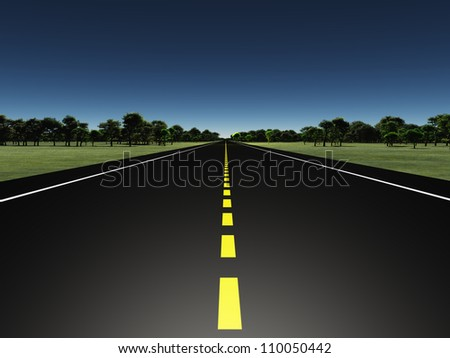 Road in green landscape - stock photo