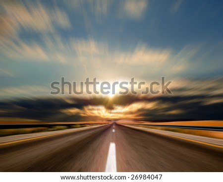 road in motion - stock photo