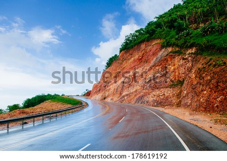 road in mountains. - stock photo