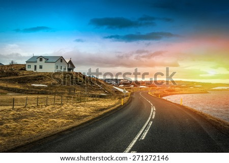 Road in mountains nature  beautiful amazing landscape sunset  background - stock photo